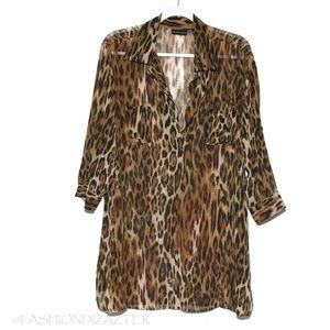 NY&Co Leopard Tunic Roll Tab Size L